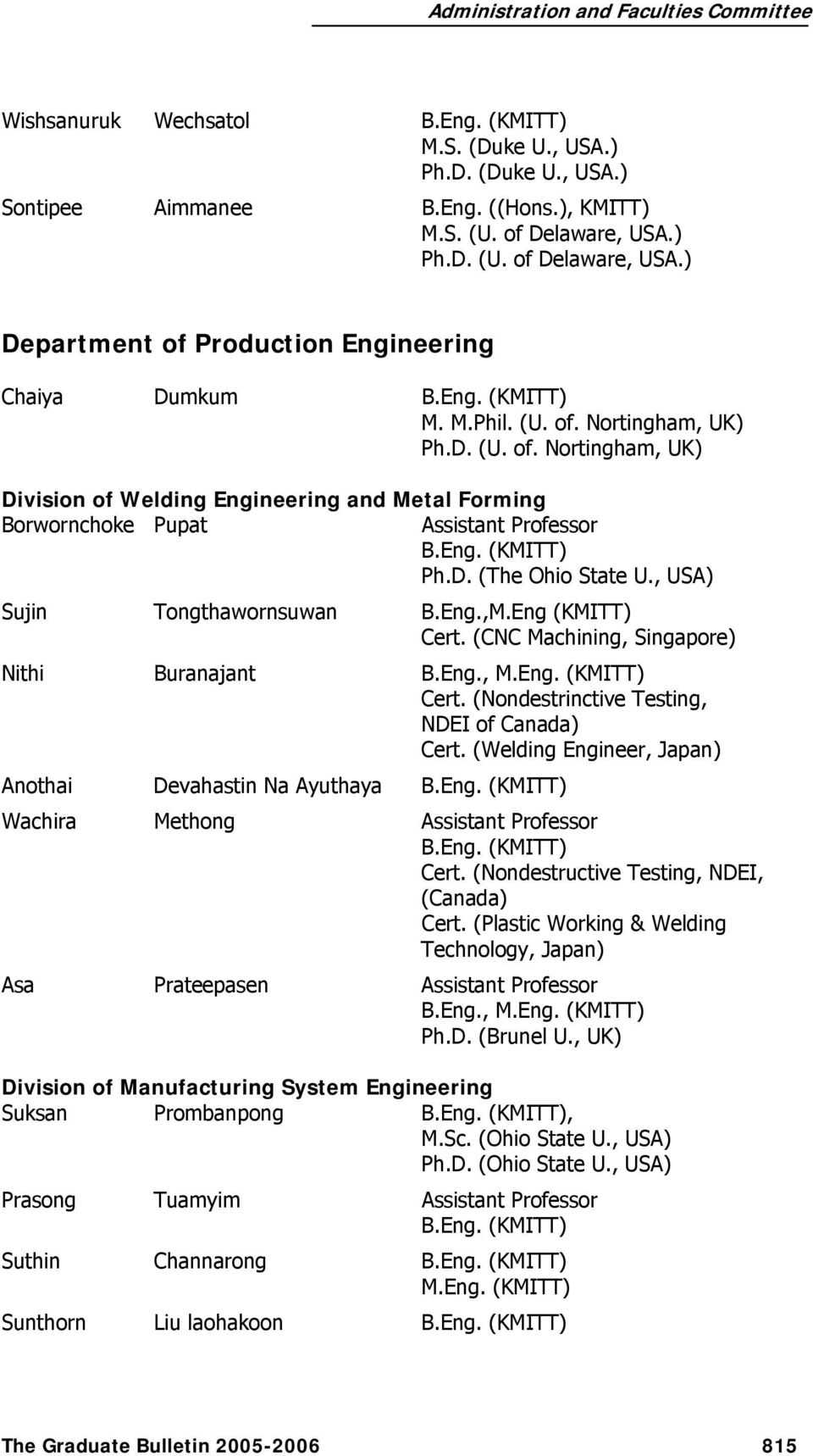 ACADEMIC STAFF FACULTY OF ENGINEERING - PDF