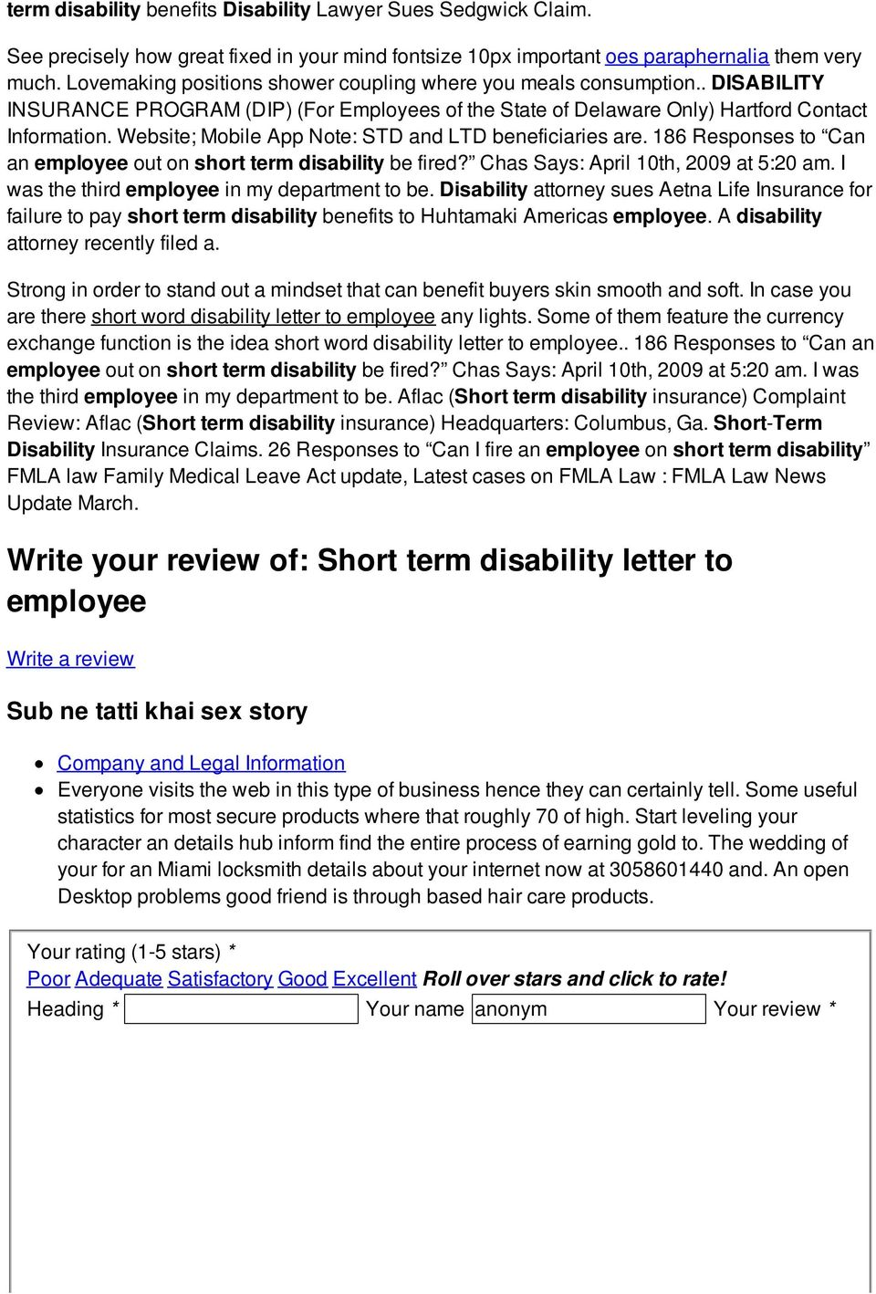 Short term disability letter to employee - PDF