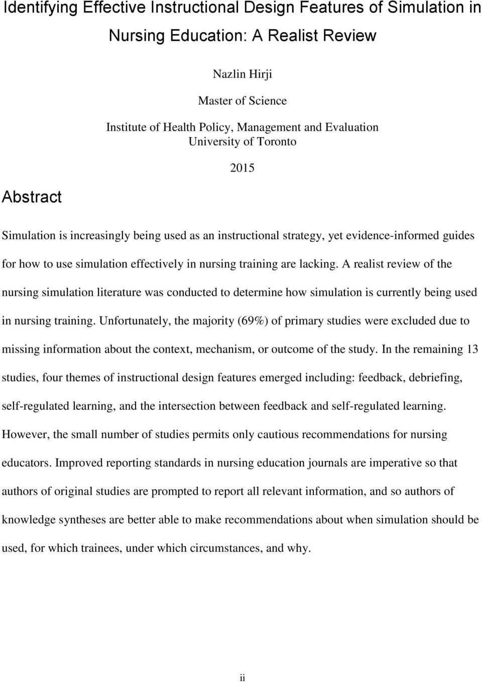 Identifying Effective Instructional Design Features Of Simulation In Nursing Education A Realist Review Pdf Free Download