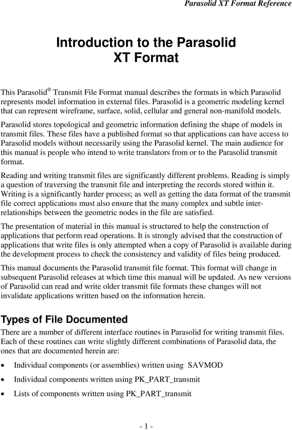 Parasolid XT Format Reference April PDF