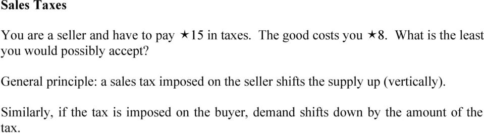 General principle: a sales tax imposed on the seller shifts the supply up