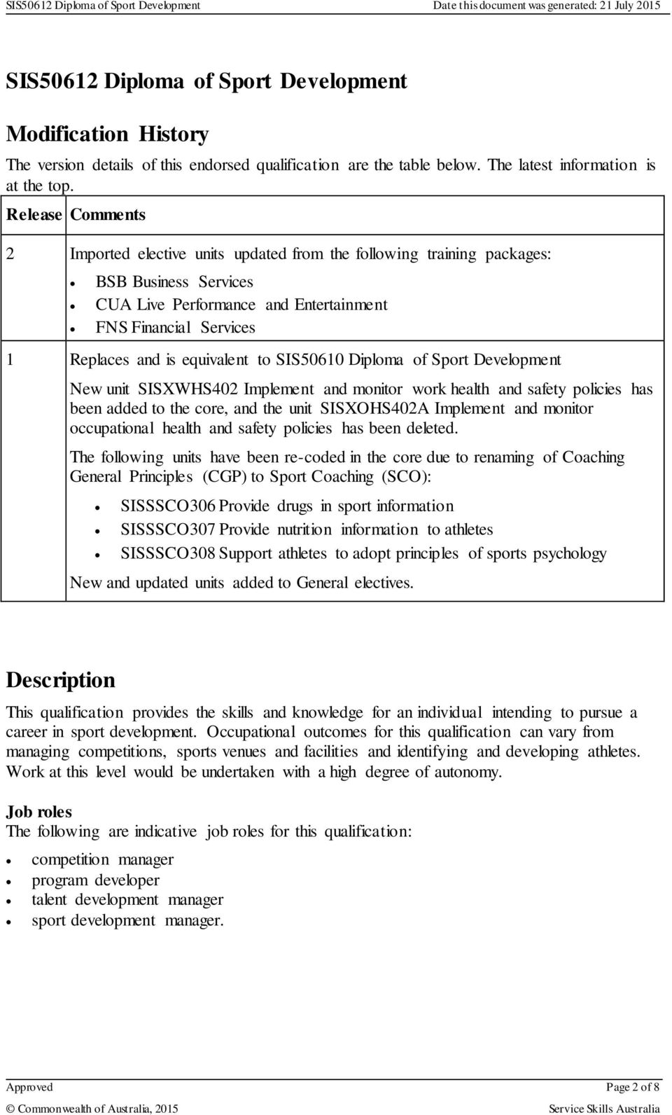equivalent to SIS50610 Diploma of Sport Development New unit SISXWHS402 Implement and monitor work health and safety policies has been added to the core, and the unit SISXOHS402A Implement and