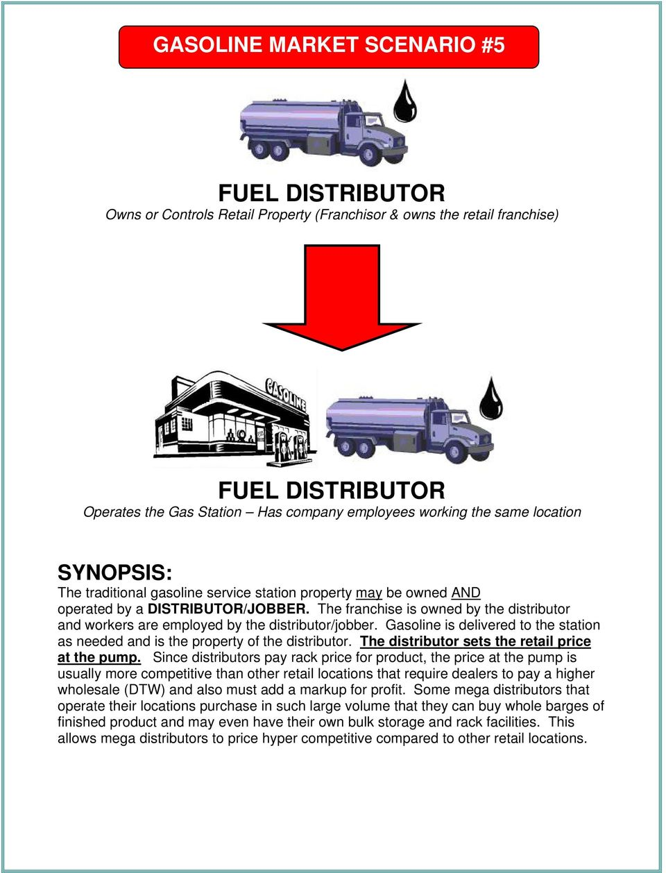 The franchise is owned by the distributor and workers are employed by the distributor/jobber. Gasoline is delivered to the station as needed and is the property of the distributor.