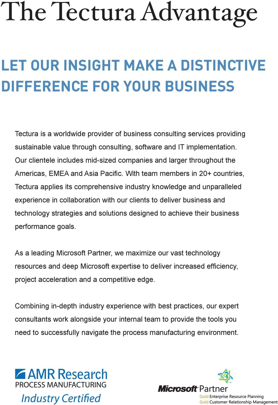 With team members in 20+ countries, Tectura applies its comprehensive industry knowledge and unparalleled experience in collaboration with our clients to deliver business and technology strategies