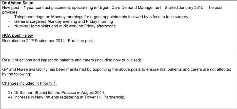 audit work on Friday afternoons - HCA post new Recruited on 22 nd September 2014. Part time post.