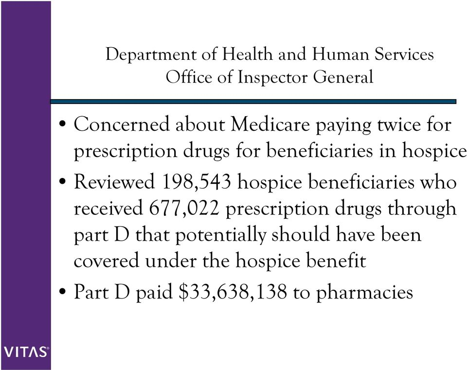 198,543 hospice beneficiaries who received 677,022 prescription drugs through part D that
