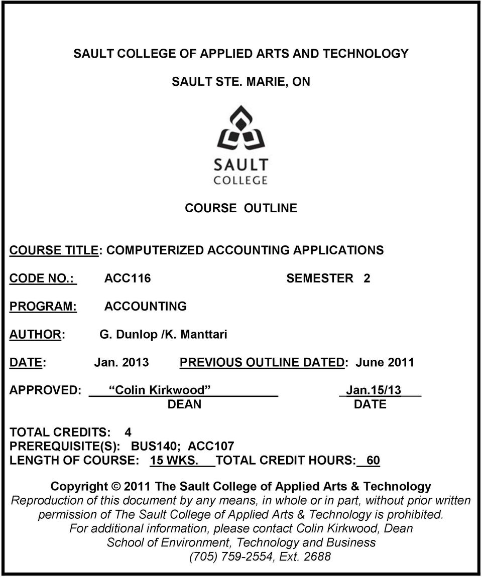 Sault College Of Applied Arts And Technology Sault Ste Marie On Course Outline Course Title Computerized Accounting Applications Pdf Free Download