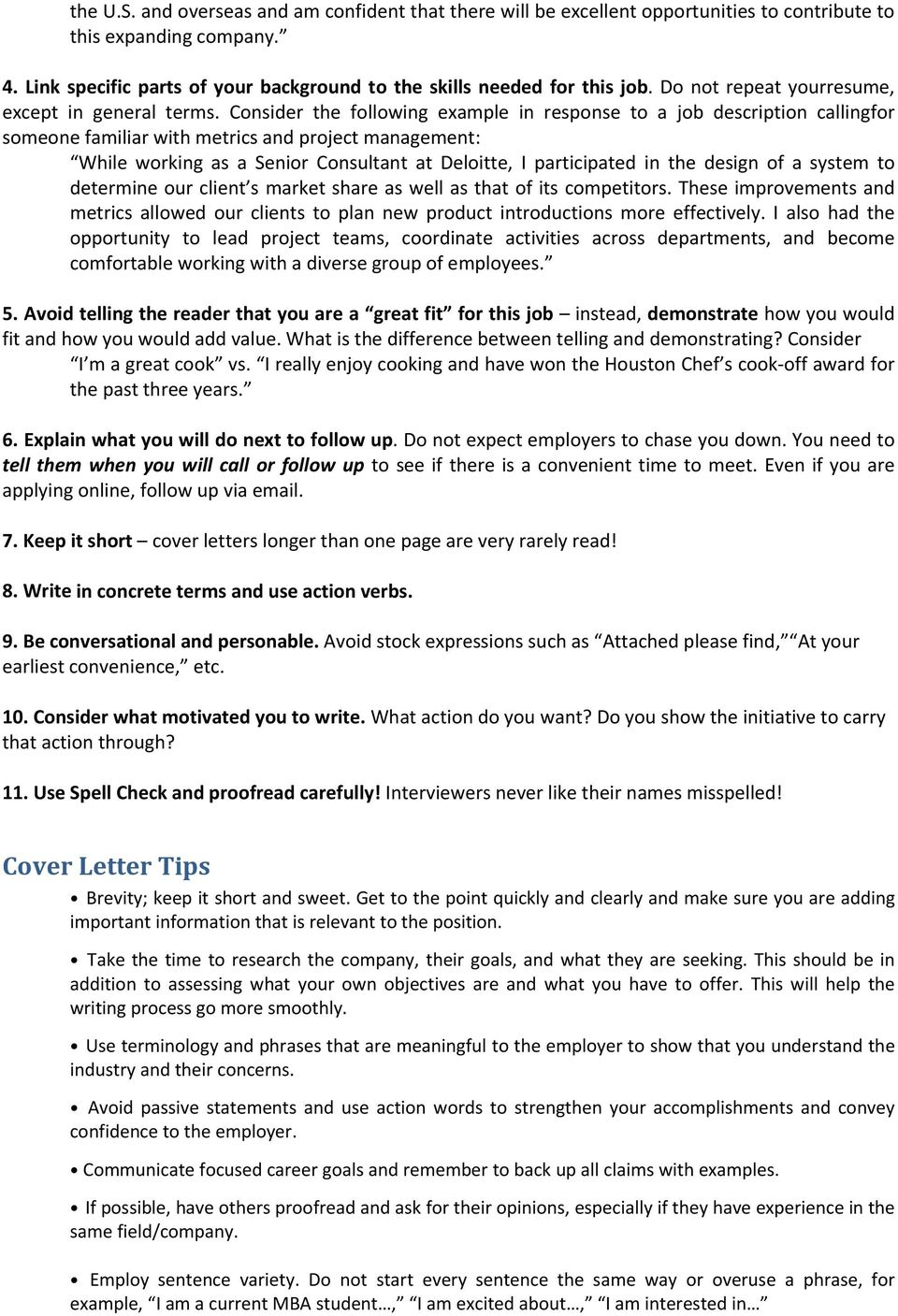 COVER LETTERS. A Tool to Generate Interviews. General ...