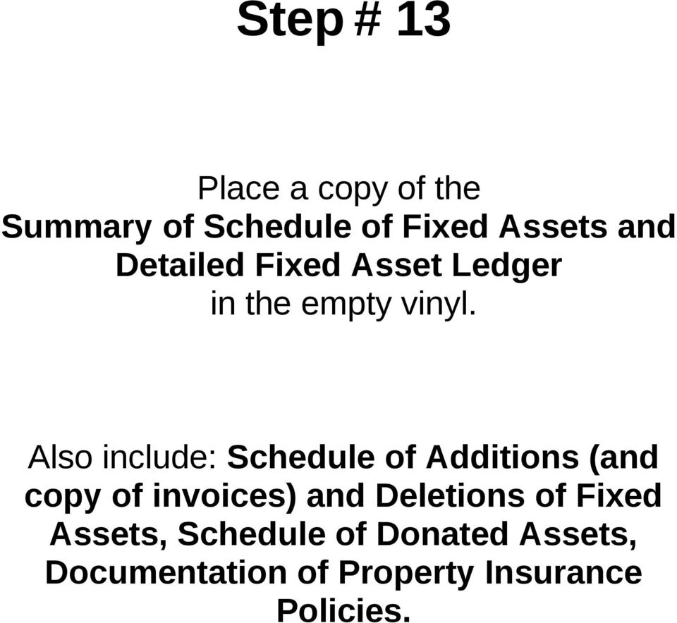Additions (and copy of invoices) and Deletions of Fixed Assets,