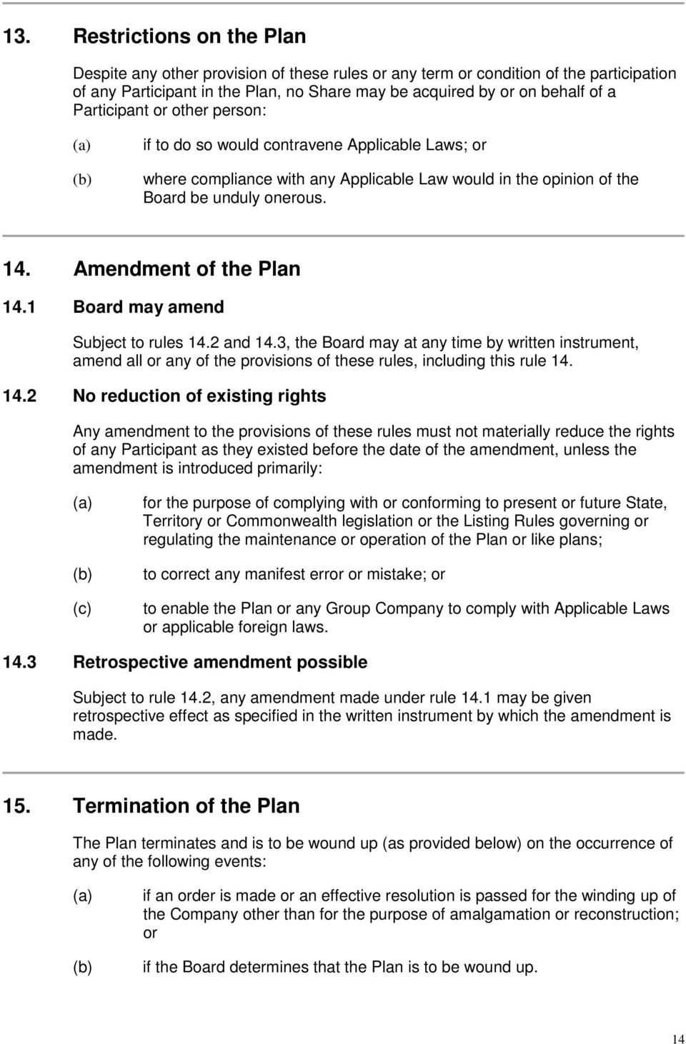 Amendment of the Plan 14.1 Board may amend Subject to rules 14.2 and 14.3, the Board may at any time by written instrument, amend all or any of the provisions of these rules, including this rule 14.
