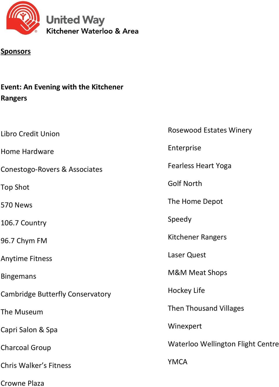 Organizations that gave to United Way KW through Workplace