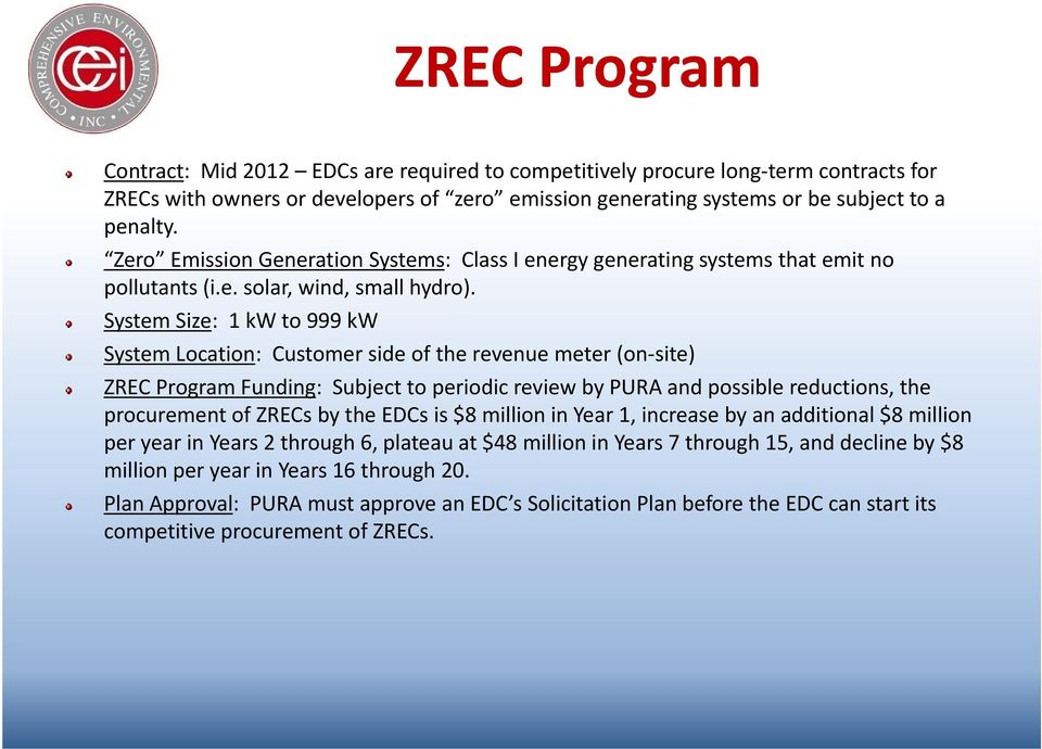 System Size: 1 kw to 999 kw System Location: Customer side of the revenue meter (on site) ZREC Program Funding: Subject to periodic review by PURA and possible reductions, the procurement of ZRECs by