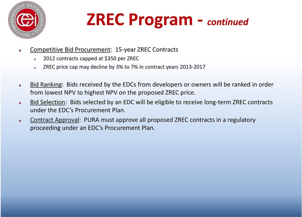 highest NPV on the proposed ZREC price.
