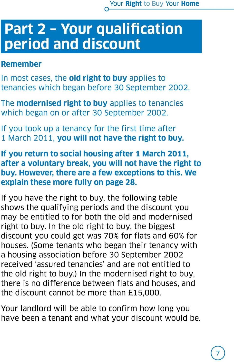 If you return to social housing after 1 March 2011, after a voluntary break, you will not have the right to buy. However, there are a few exceptions to this. We explain these more fully on page 28.