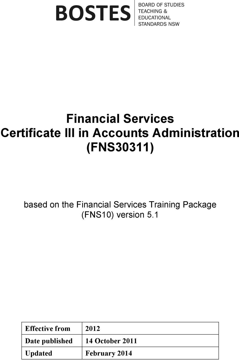 Training Package (FNS10) version 5.