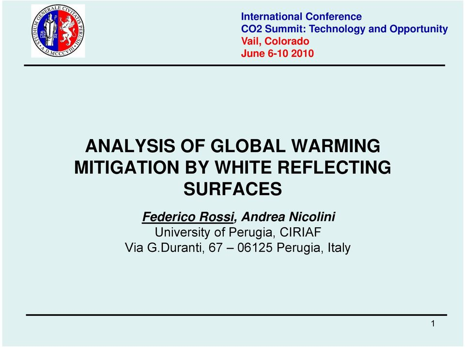 MITIGATION BY WHITE REFLECTING SURFACES Fedeico Rossi, Andea