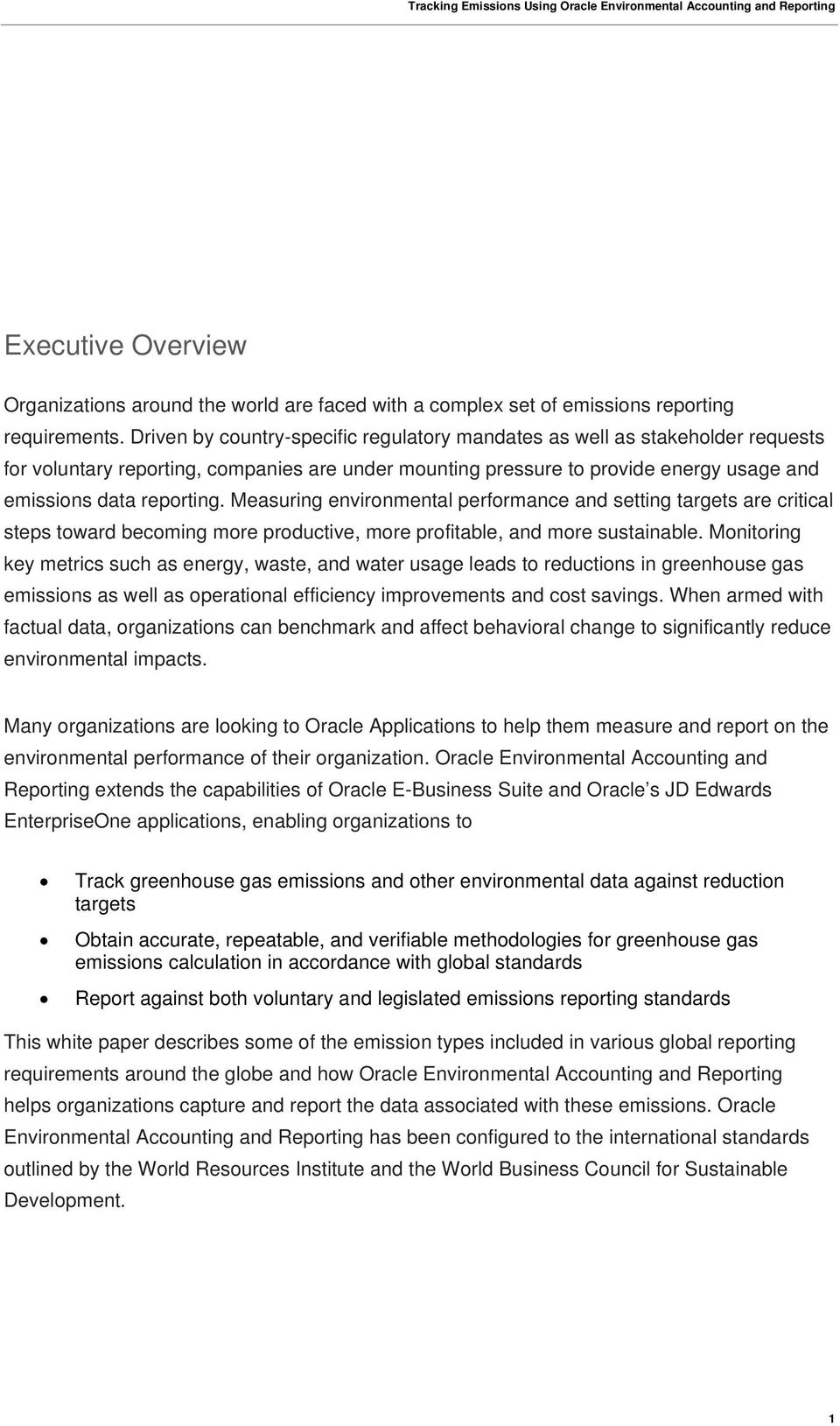 An Oracle White Paper July Tracking Emissions Using Oracle