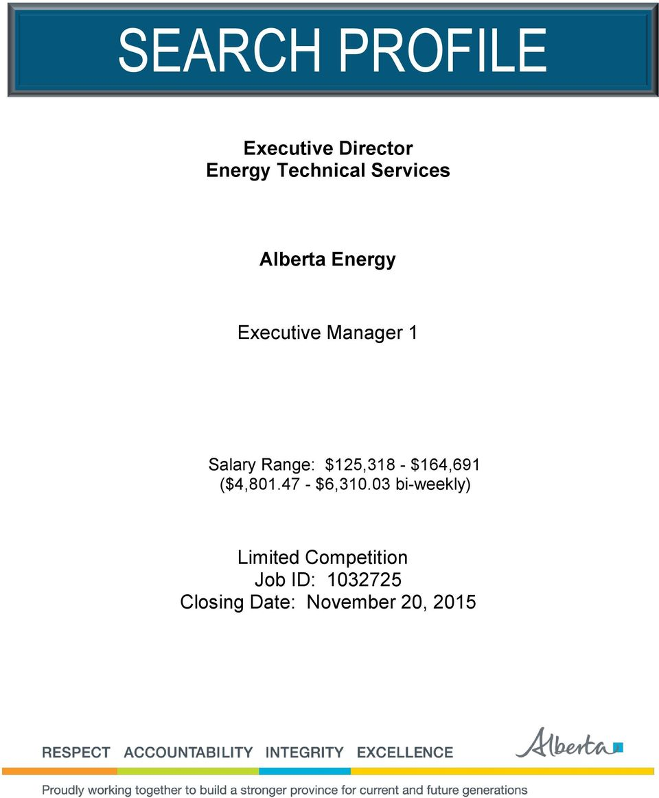 SEARCH PROFILE  Executive Director Energy Technical Services