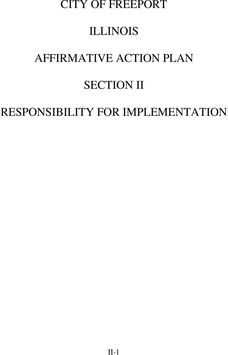 ACTION PLAN SECTION II