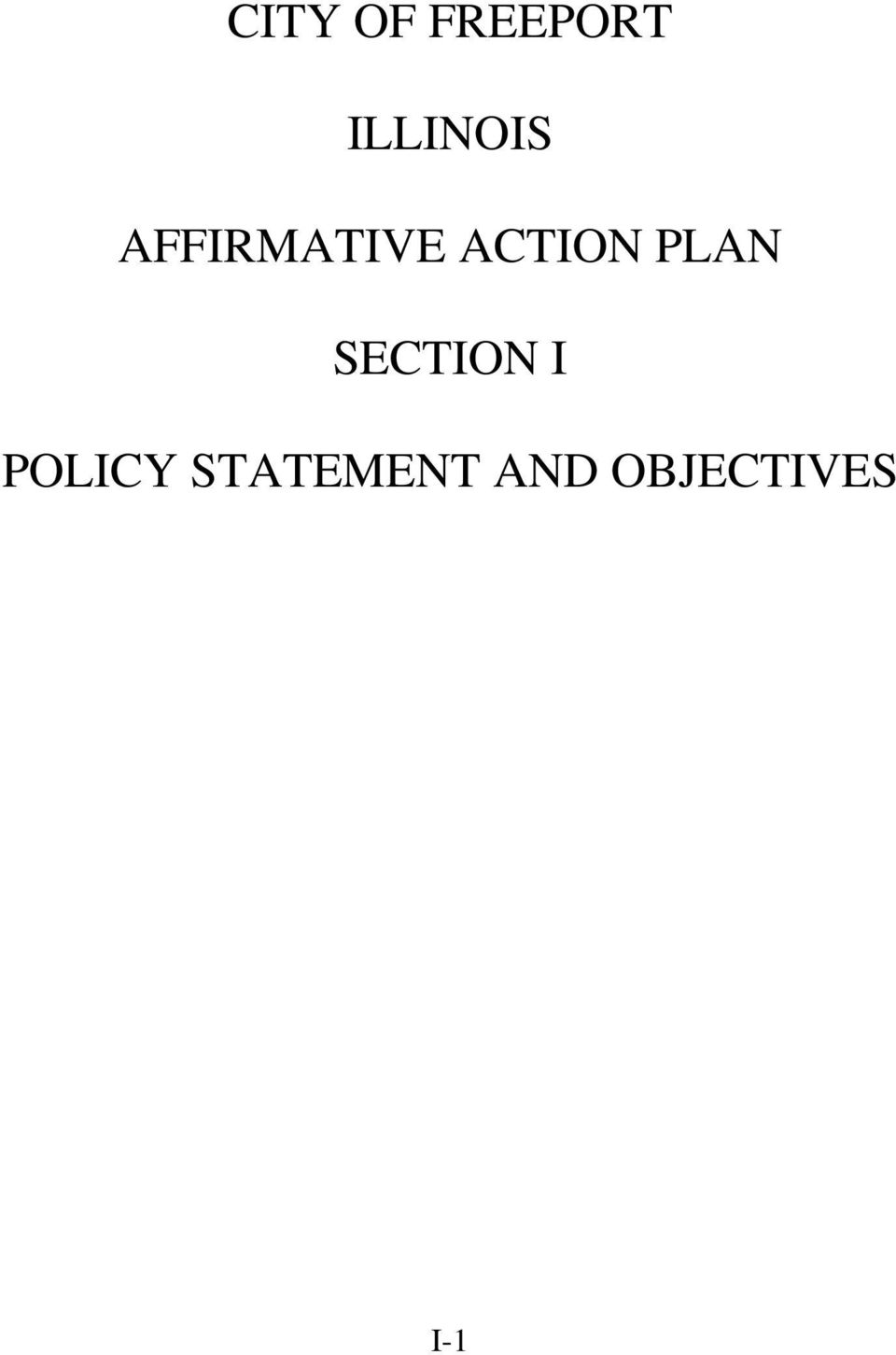 ACTION PLAN SECTION I