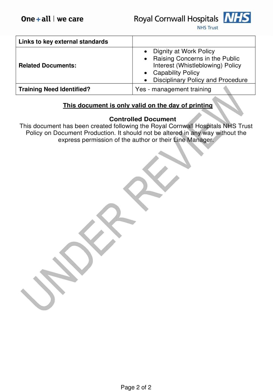 Procedure Yes - management training This document is only valid on the day of printing Controlled Document This document has been