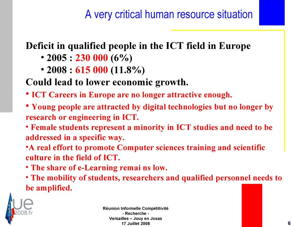 Young people are attracted by digital technologies but no longer by research or engineering in ICT.