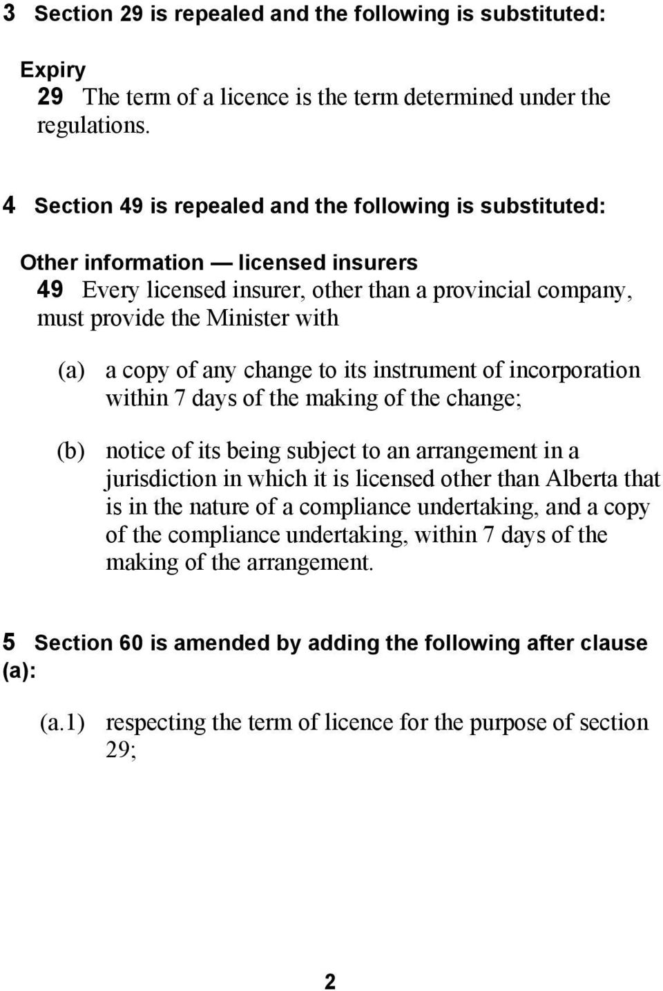any change to its instrument of incorporation within 7 days of the making of the change; (b) notice of its being subject to an arrangement in a jurisdiction in which it is licensed other than Alberta