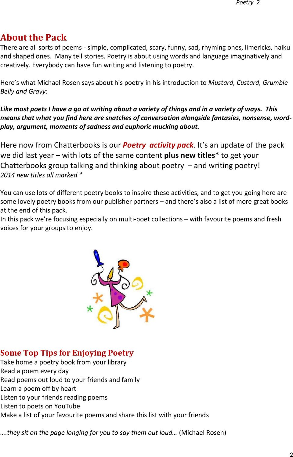 Poetry Chatterbooks Activity Pack October PDF