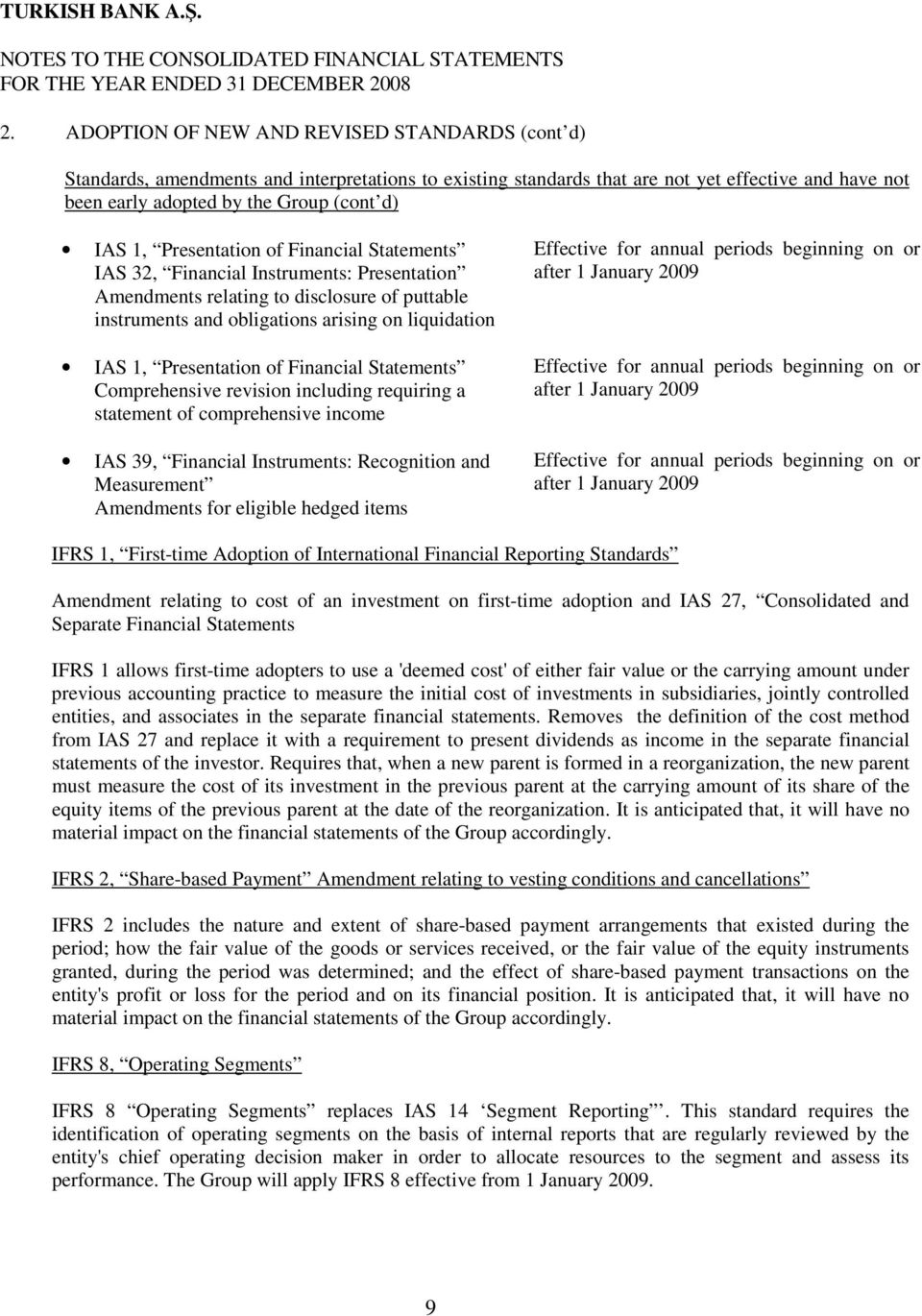 Presentation of Financial Statements Comprehensive revision including requiring a statement of comprehensive income IAS 39, Financial Instruments: Recognition and Measurement Amendments for eligible