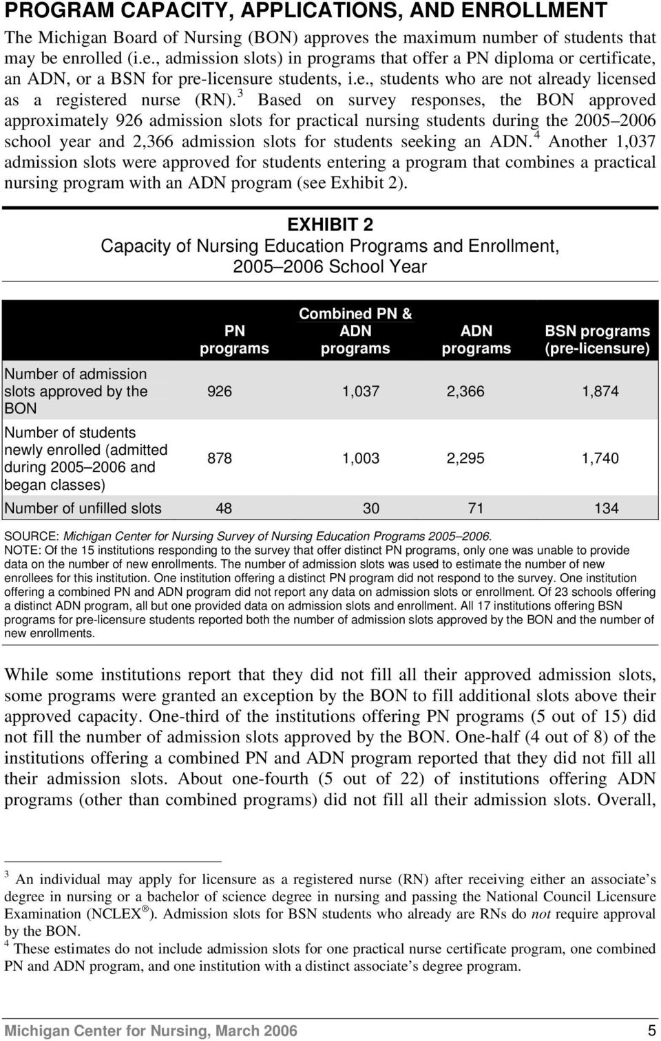 3 Based on survey responses, the BON approved approximately 926 admission slots for practical nursing during the 2005 2006 school year and 2,366 admission slots for seeking an ADN.