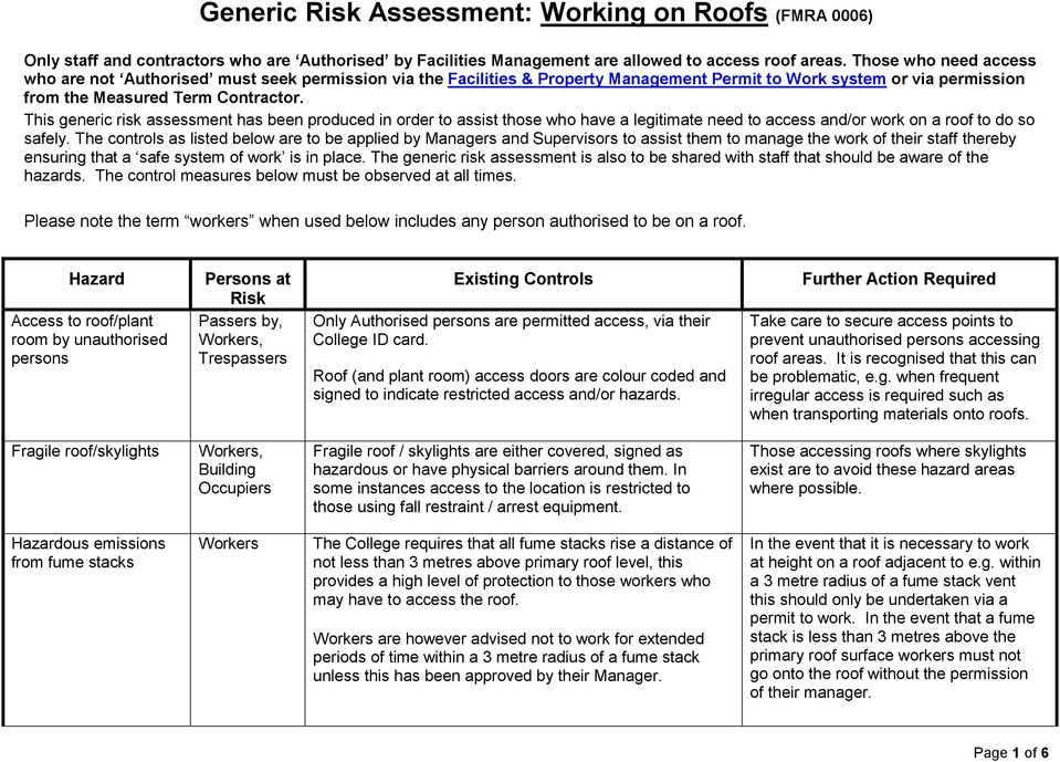 Generic risk assessment working on roofs fmra 0006 pdf this generic risk assessment has been produced in order to assist those who have a legitimate maxwellsz