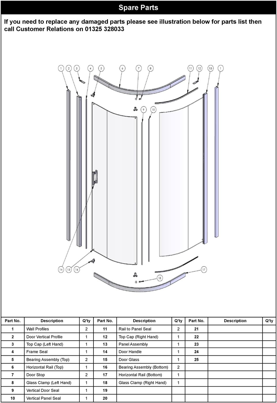 Description Q ty 1 Wall Profiles 2 11 Rail to Panel Seal 2 21 2 Door Vertical Profile 1 12 Top Cap (Right Hand) 1 22 3 Top Cap (Left Hand) 1 13 Panel Assembly 1 23 4