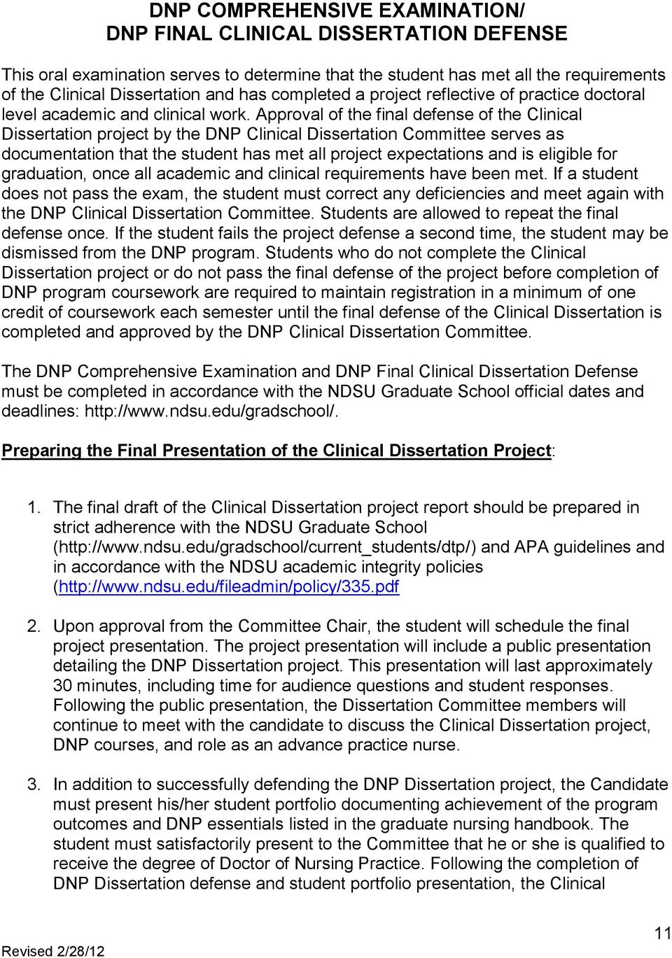 CLINICAL DISSERTATION GUIDELINES FOR NDSU DOCTOR OF NURSING