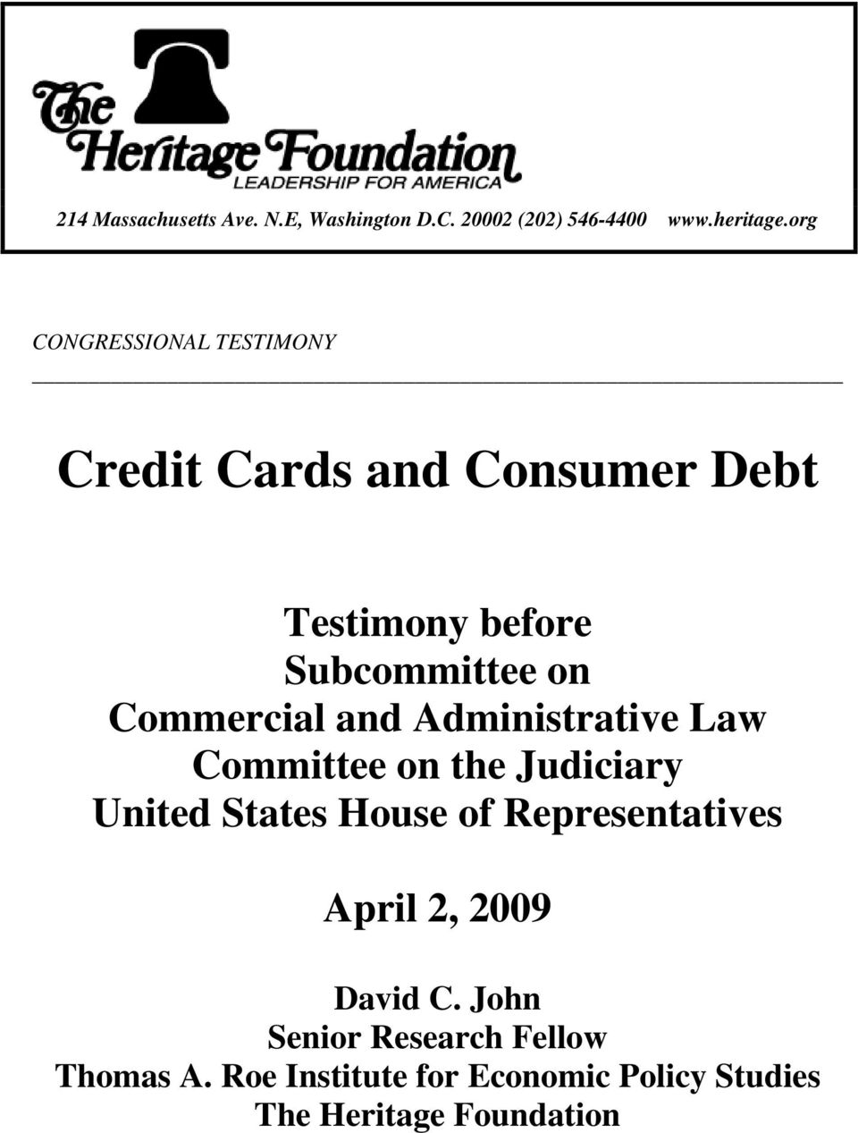 Commercial and Administrative Law Committee on the Judiciary United States House of