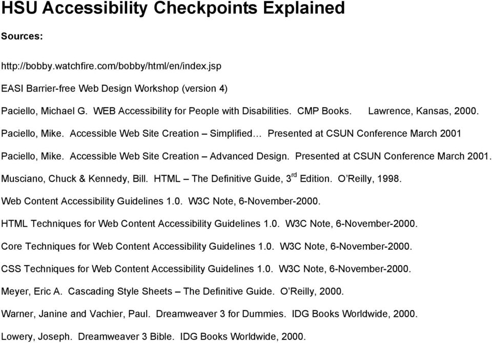 HSU Accessibility Checkpoints Explained - PDF