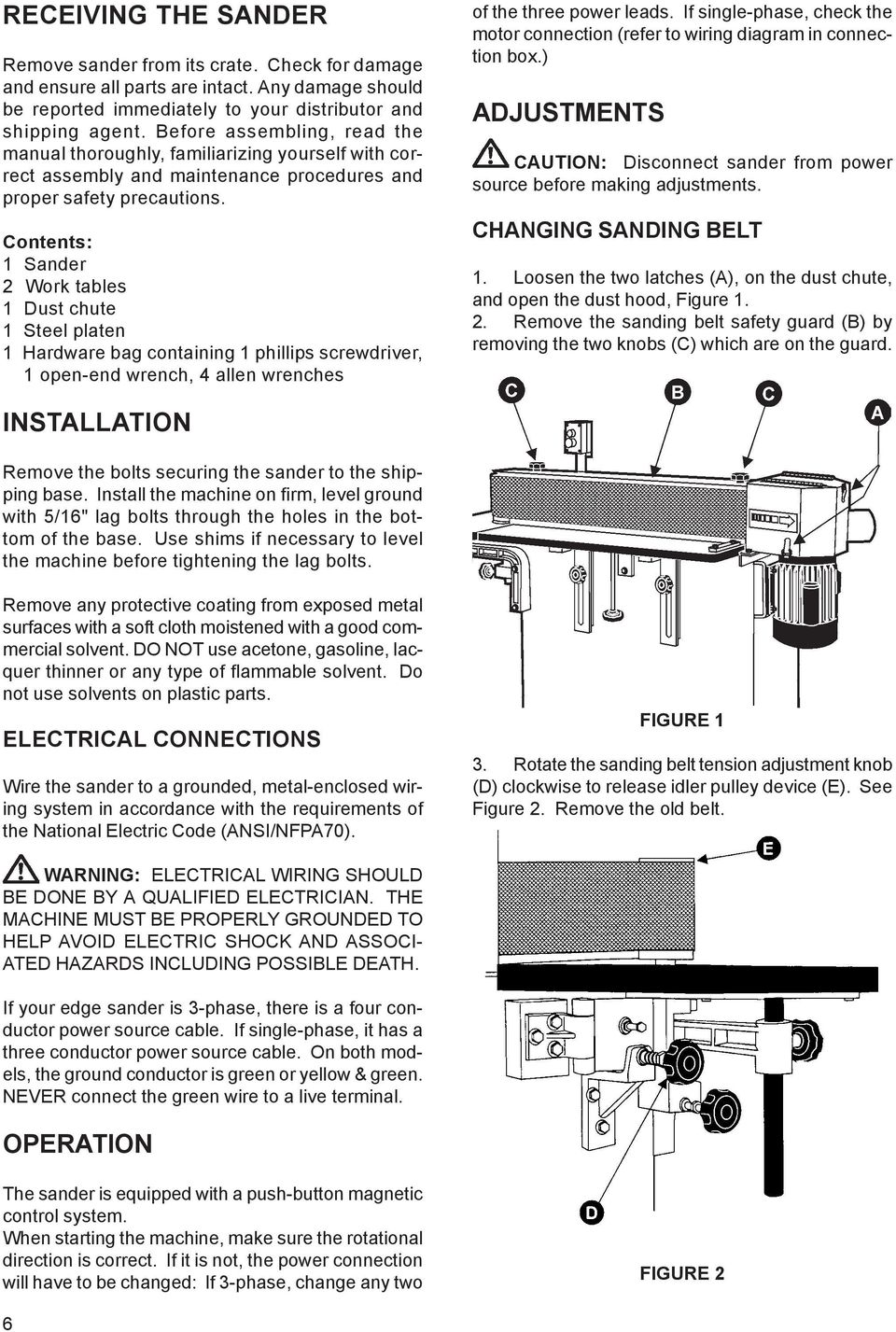 Edge Sander Model Pdf Disconnect Electrical Motor Connection Diagram Contents 1 2 Work Tables Dust Chute Steel Platen Hardware Bag
