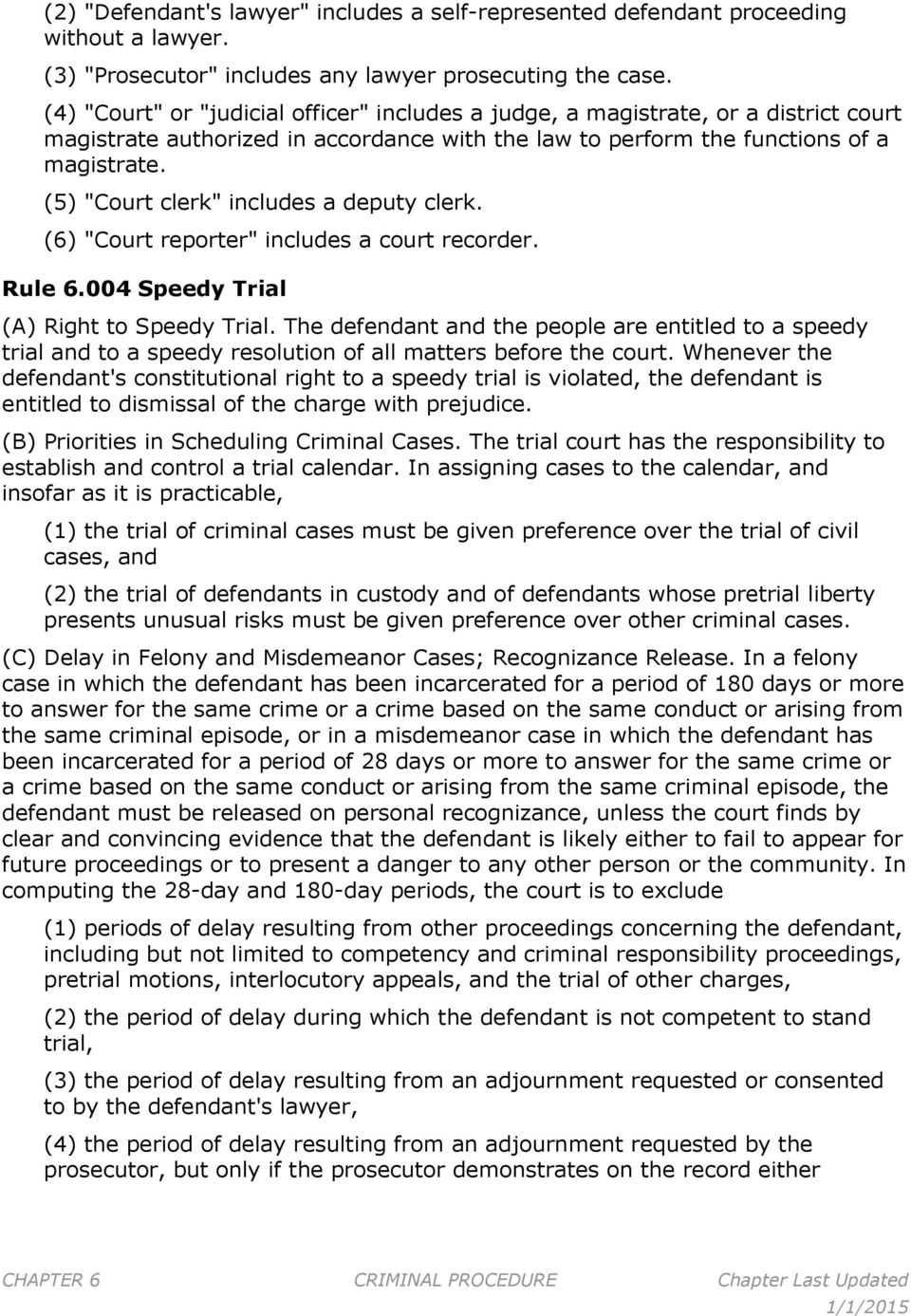 "(5) ""Court clerk"" includes a deputy clerk. (6) ""Court reporter"" includes a court recorder. Rule 6.004 Speedy Trial (A) Right to Speedy Trial."