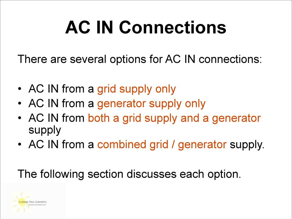 IN from both a grid supply and a generator supply AC IN from a