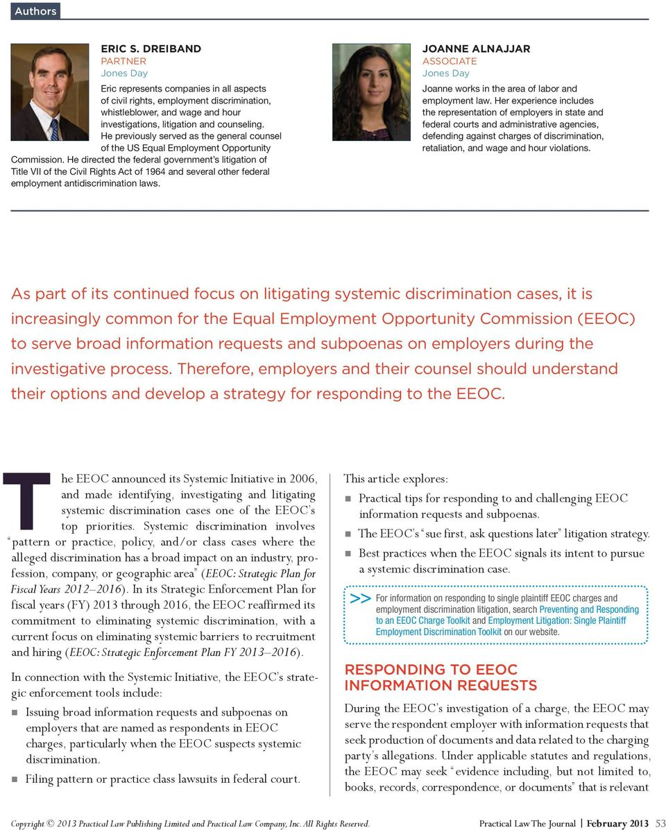 Systemic Discrimination Responding to EEOC Investigations
