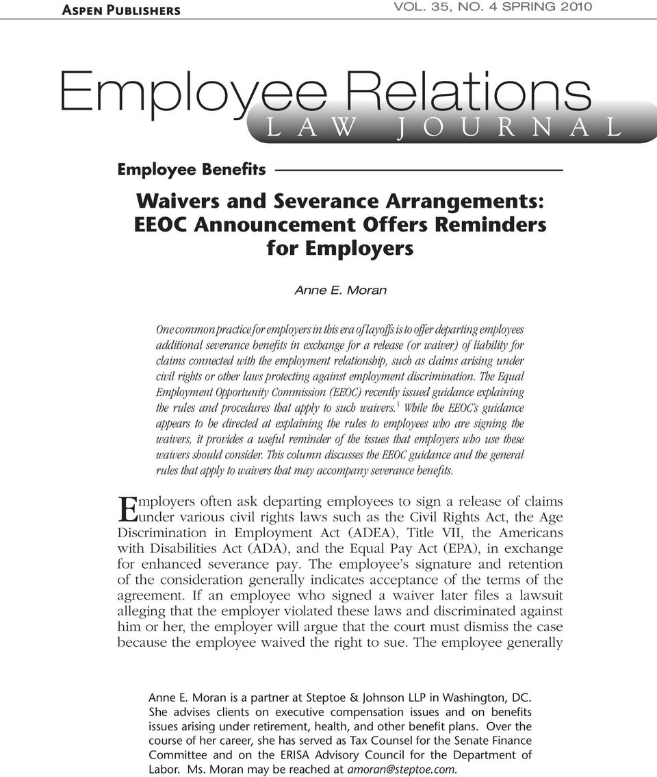 Employee Relations Waivers And Severance Arrangements Eeoc