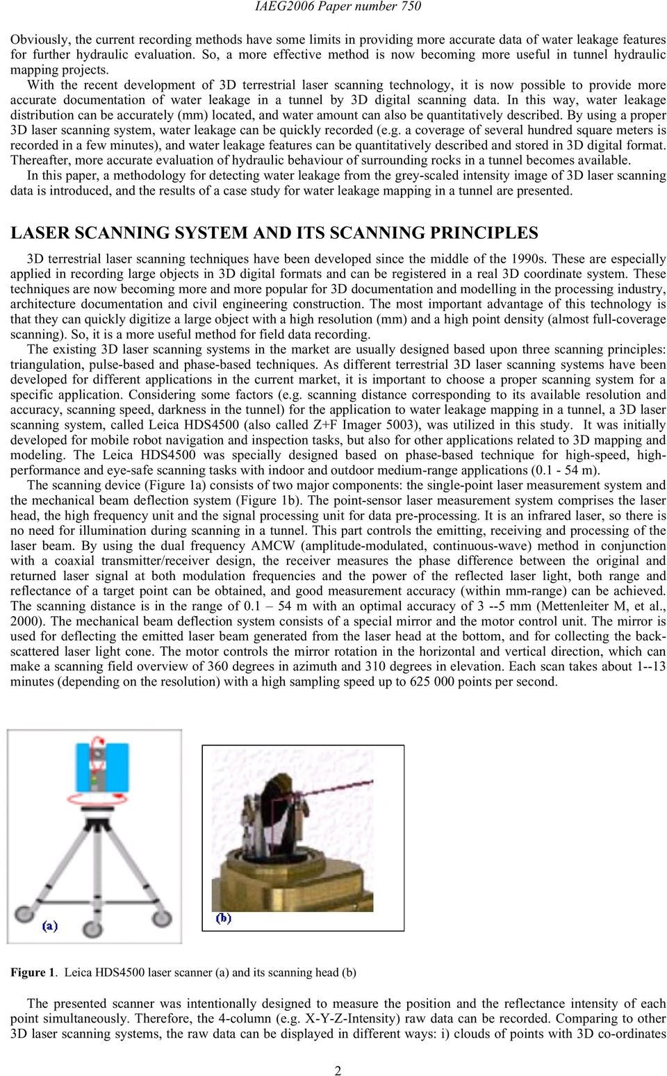 Detection of water leakage using laser images from 3D laser