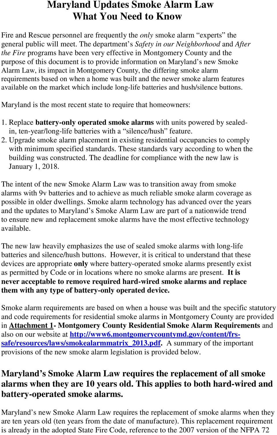 Maryland Updates Smoke Alarm Law What You Need to Know - PDF