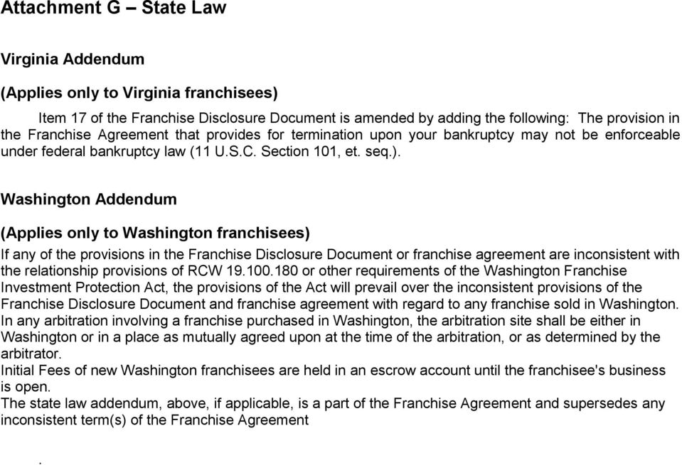 Washington Addendum (Applies only to Washington franchisees) If any of the provisions in the Franchise Disclosure Document or franchise agreement are inconsistent with the relationship provisions of