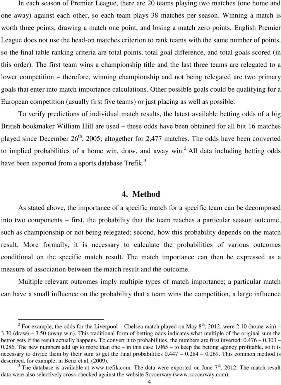 Using Monte Carlo simulation to calculate match importance: the case