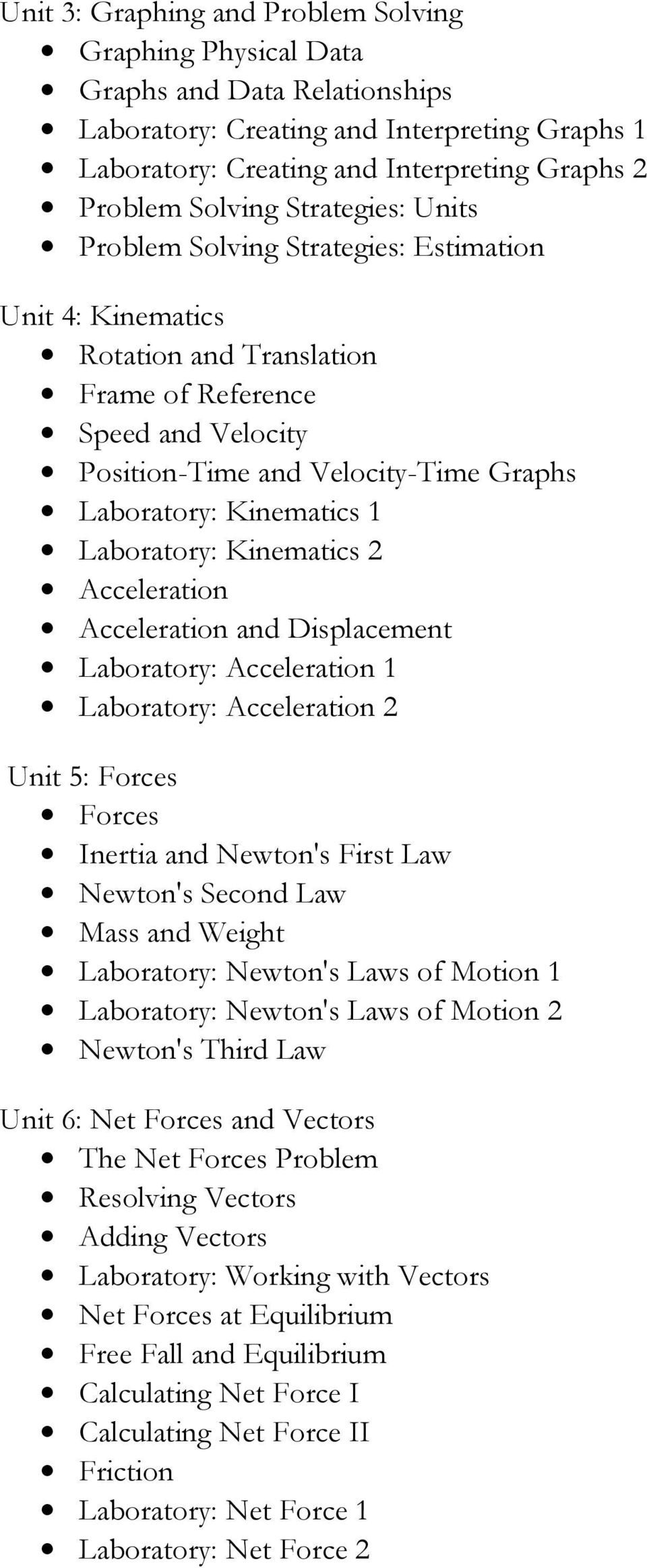 Kinematics 1 Laboratory: Kinematics 2 Acceleration Acceleration and Displacement Laboratory: Acceleration 1 Laboratory: Acceleration 2 Unit 5: Forces Forces Inertia and Newton's First Law Newton's