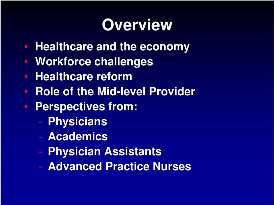 Mid-level Provider Perspectives from: -