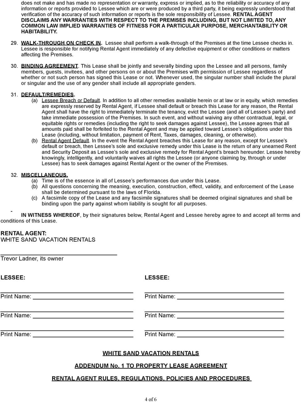 White Sand Vacation Rentals Vacation Property Lease Agreement Pdf