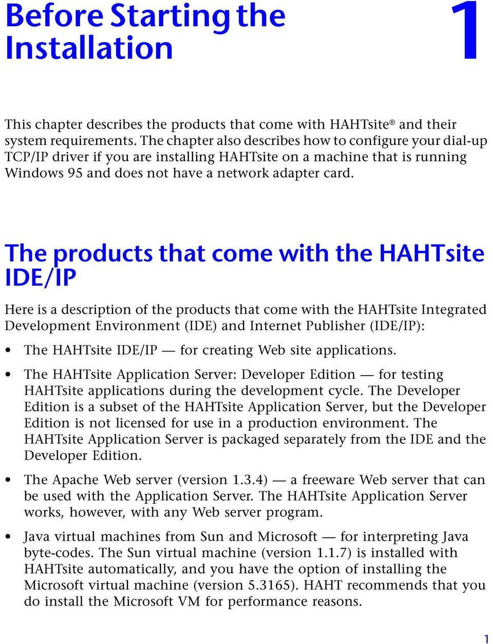 HAHTsite IDE and IP Installation Guide - PDF