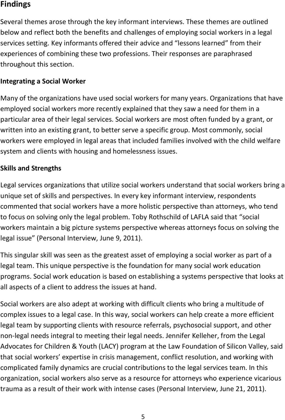 Social Work and Legal Services Integrating Disciplines