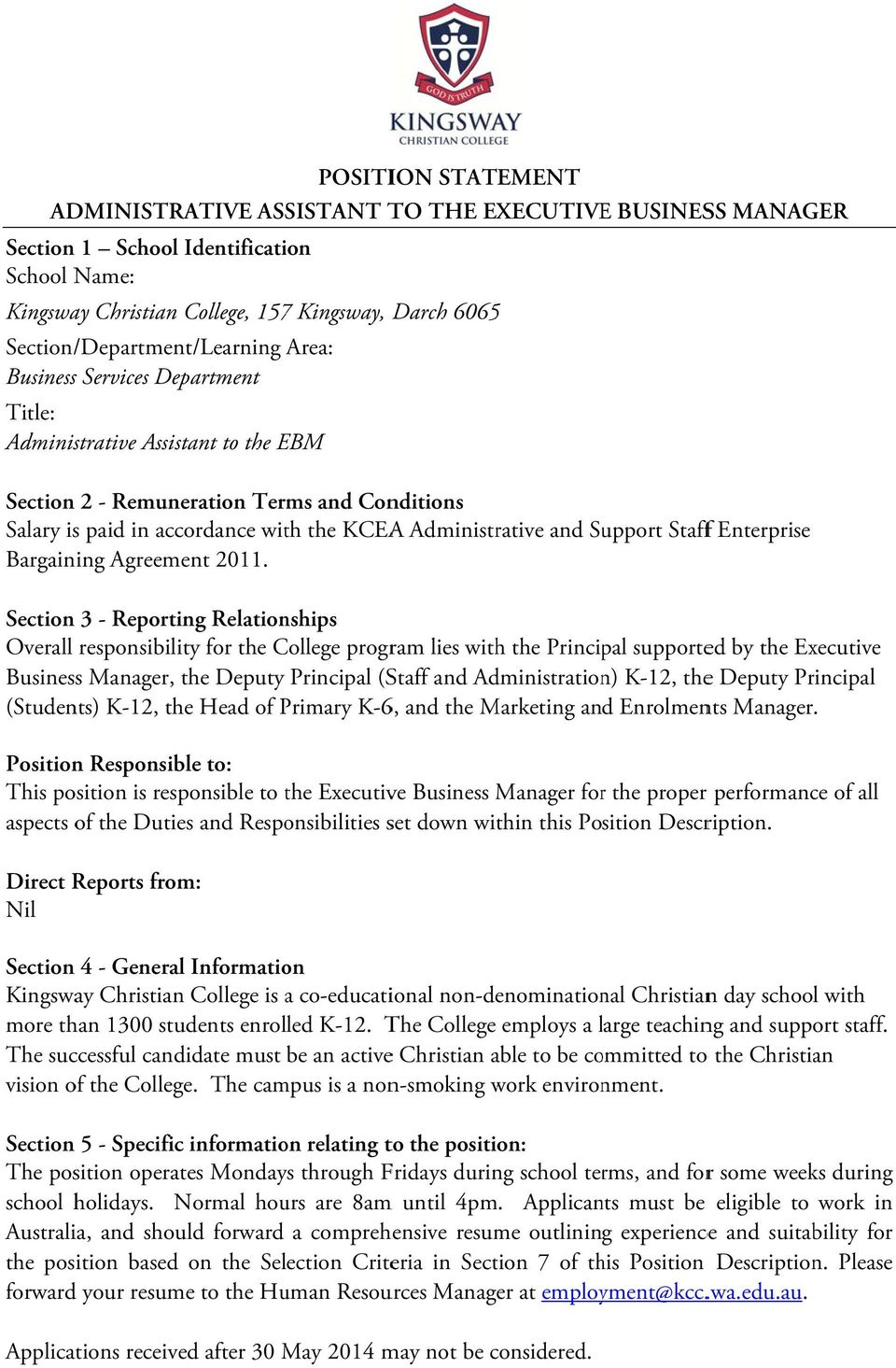 Administrative and Support Stafff Enterprise Bargaining Agreement 2011.